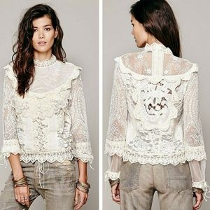 Free People High Neck Victorian Ivory Lace Top